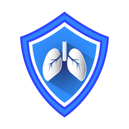 Lungs Protection Shield Vector Icon.
