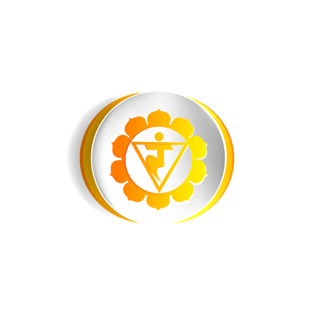 Manipura chakra Vector illustration isolated on white background.