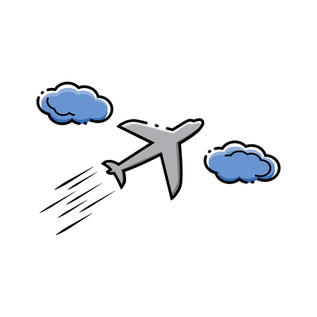 Airplane between clouds. Vector illustration.