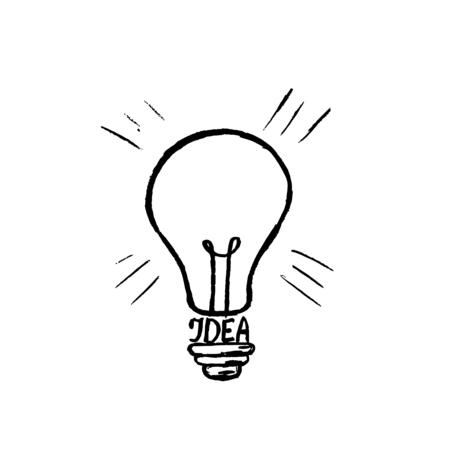 Hand drawn light bulb vector icon. Ilustração