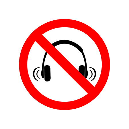 No headphones sign, Vector illustration.  イラスト・ベクター素材