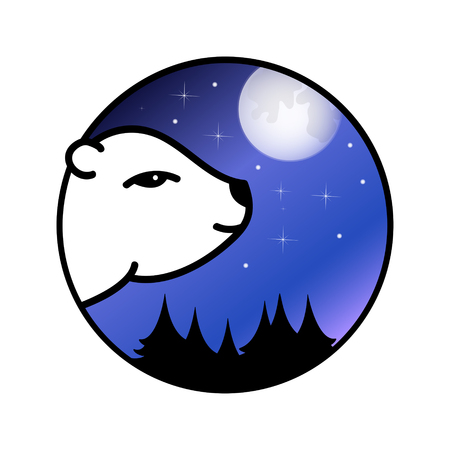 Head of polar bear looking at the full moon, Vector illustration,