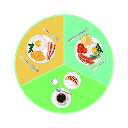 Morning meals. Breakfast.Top view. Vector iilustration. Çizim