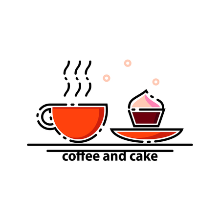Coffee and cake outline vector illustration.