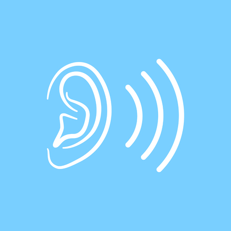 Ear icon on blue background. Vector illustration.