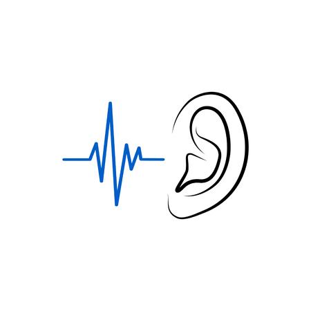 Icono de oído aislado sobre fondo blanco. Ilustración de vector. Ilustración de vector