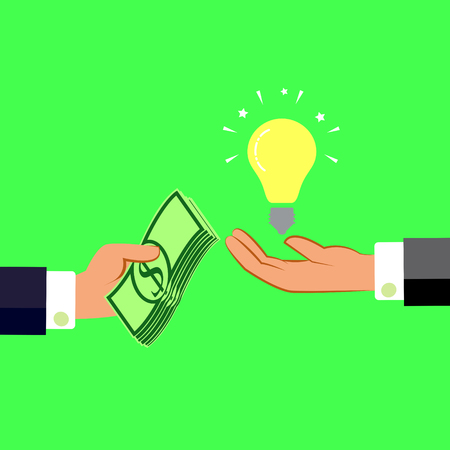 Hands with money and light bulb. Exchanging concept. Flat design style. Vector illustration. Illustration