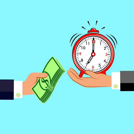 Hands with money and clock. Exchanging concept. Flat design style. Time management. Vector illustration.