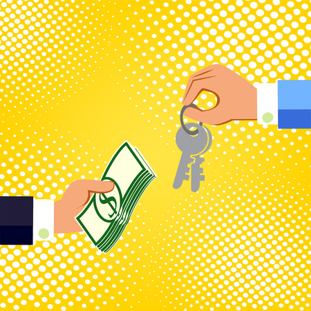 Hands with money and keys. Exchanging concept. Flat design style. Vector illustration.