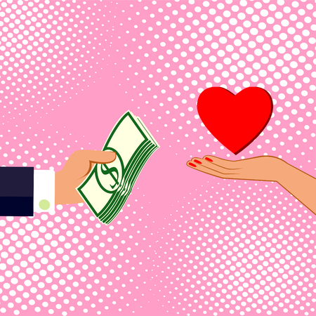 Hands with money and love. Exchanging concept. Flat design style. Vector illustration.