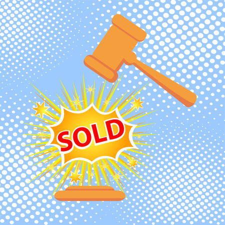 Gavel hits stand to stop sale. SOLD cartoon style vector illustration.