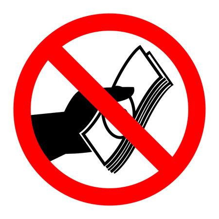 No cash sign vector illustration isolated on white background. Illustration