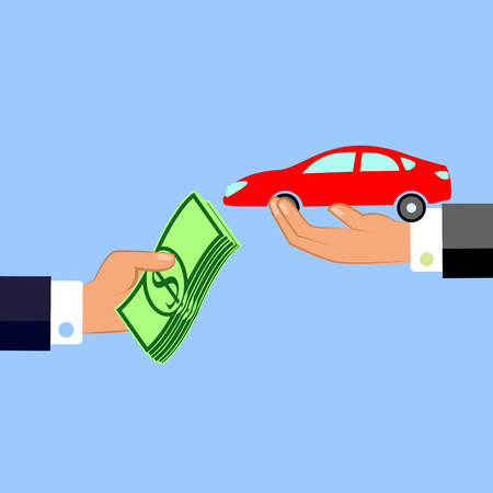 Hand giving money and car. Exchanging concept. Flat design style. Vector illustration.