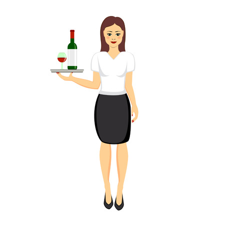 Restaurant waitress character holding tray with glass and bottle of red wine.