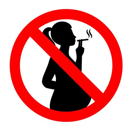 Do not smoke during pregnancy. No smoking sign illustration.