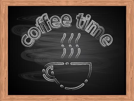 Chalk white text Coffee Time on school blackboard flat design