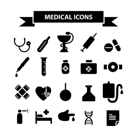Medicine and health icons set. Simple flat design. Vector illustration.