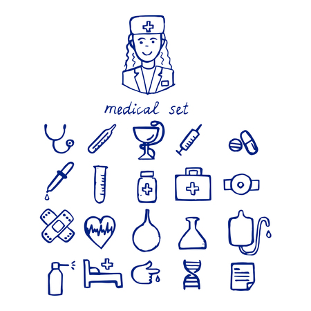 Hand drawn medicine and health icons set. Vector illustration.