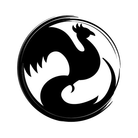 Flaming Phoenix Symbol isolated on white background. Vector illustration.