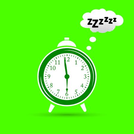 Sleeping clock. Flat design vector illustration. Vector Illustration