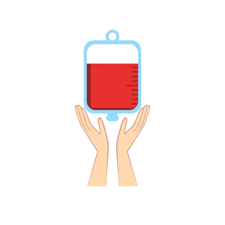 Hands holding blood bag. Donation abstract concept vector iilustration.
