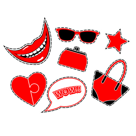 Fashion patch badges with smile, heart, speech bubble wow, star, bags and glasses. Flat vector illustration isolated on white background. Red color.