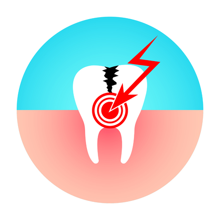 Damaged tooth. Toothache. Caries disease flat vector illustration.