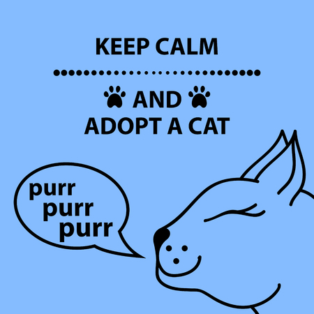 Keep calm an adopt a cat text. Vector illustration. Ilustracja
