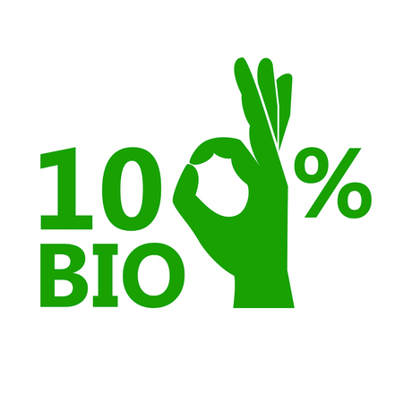 100 % bio vector icon. Hundred percent natural flat illustration. Ilustracja