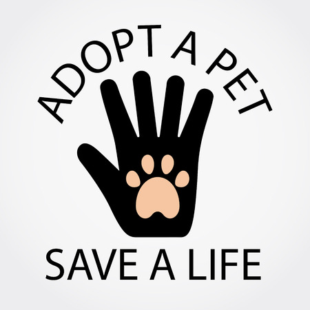 Adopt a pet, save a life. Text. Hand with paw vector illustration. Ilustracja