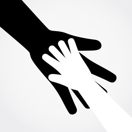 Adult and child hands. Vector flat design illustration.