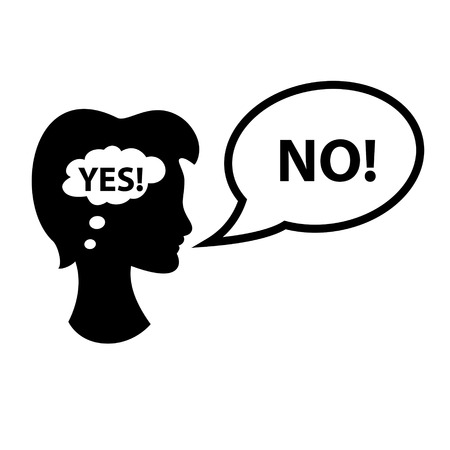 Woman is thinking yes, saying no. Vector illustration.