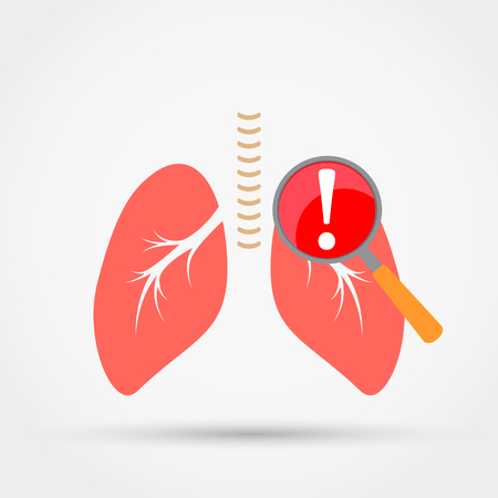 Attention.Pain in lungs. Vector illustration flat design.