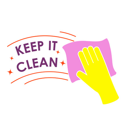 Text keep it clean.Human hand holding duster. Vector illustration.