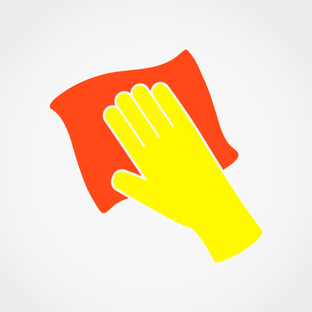 Human hand holding duster. Vector illustration.