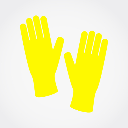 Rubber yellow gloves, Simple flat vector illustration, icon.