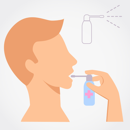 Man using throat spray simple flat vector illustration on grey background. Ilustração