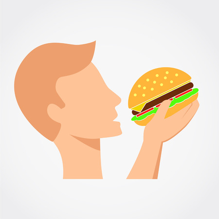 Man is eating the burger. Simple flat vector illustration.