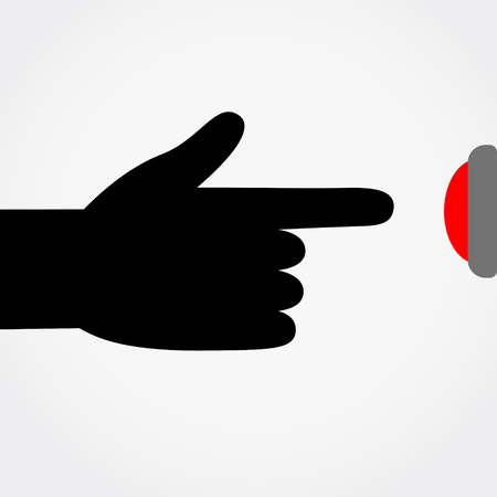 Finger pressing the red button. Flat style vector illustration.