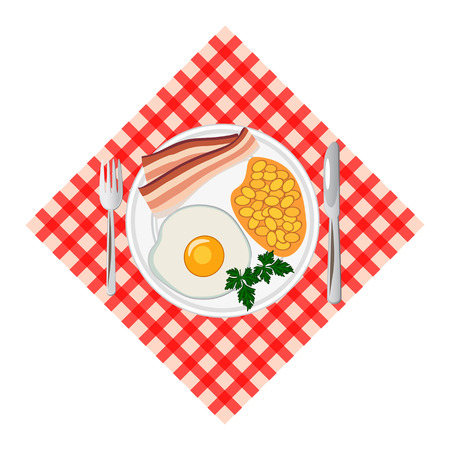 Traditional breakfast with fried egg, bacon, beans. Top view. Vector illustration.
