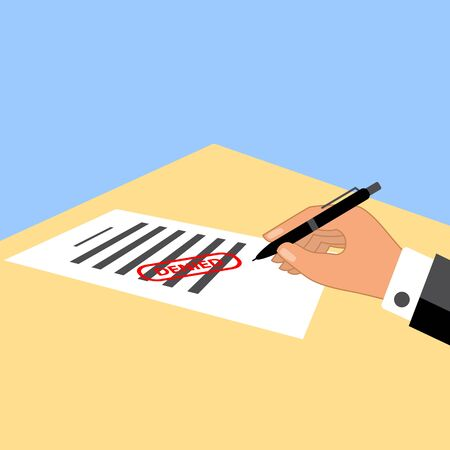 Man signing the document with denied  stamp on it. Simple flat design vector illustration.