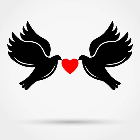 Black silhouettes of  flying doves on grey background with shadow. Love concept. Simple flat vector icon. Ilustração