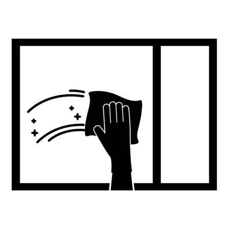 Mano con trapo limpiando la ventana. Ilustración de vector plano simple. Ilustración de vector