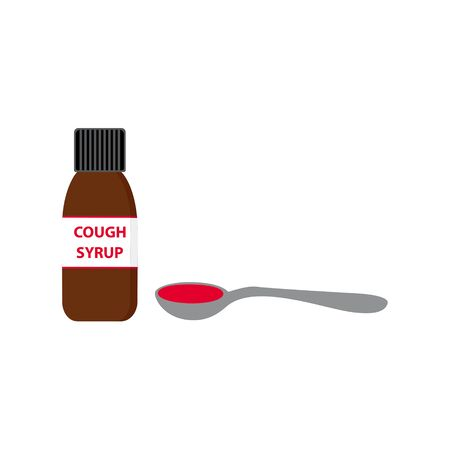 Cough syrup.Liquid medicine poured into a spoon. Simple flat vector icon isolated on white background.
