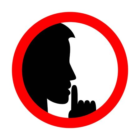 Keep silence sign. Be quiet. Flat simple vector isolated on white. Vektorové ilustrace