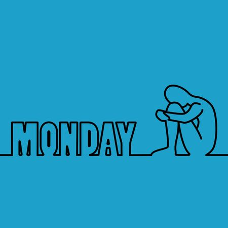 Blue Monday. The most depressing day of the year. Simple flat vector illustration. Vectores