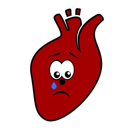 Unhappy unhealthy crying heart cartoon character vector icon isolated on white.
