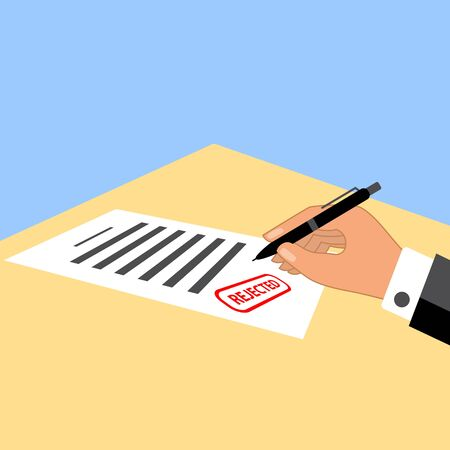 Man signing the document with rejected stamp on it. Simple flat design vector illustration.