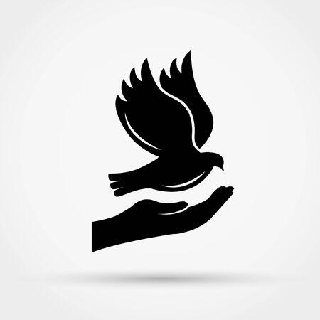 Hands holding dove. Peace concept. Simple flat design vector illustration. Çizim