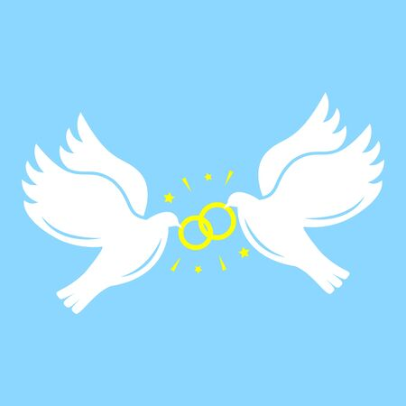 White silhouettes of  flying doves with wedding rings on blue background. Love concept. Simple flat vector icon.